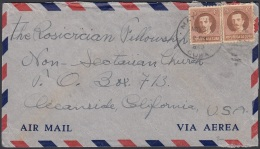 1917-H-334 CUBA REPUBLICA 1917 8c IGNACIO AGRAMONTE SOBRE 1949 A US ROSACRUCIAN FELLOWSHIP NON SECTARIAN CHURCH - Cuba