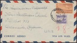 1948-H-58 CUBA REPUBLICA 1948 8c AVION SOBRE 1949 A US ROSACRUCIAN FELLOWSHIP NON SECTARIAN CHURCH - Cuba
