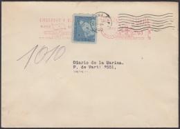 FM-86 CUBA FRANQUEO MECANICO 1952. WARD LINE CUBA MAIL. BANDERA FLAG HABANA. PERMISO Nº.39. - Cartas