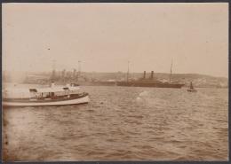 POS-217 CUBA CIRCA 1910 PHOTO HAVANA HARBOR WITH WAR SHIP.BARCOS EN LA BAHIA DE LA HABANA 7,5 X11cm. - Fotos