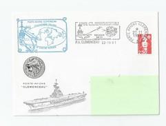 LETTRE PORTE AVIONS CLEMENCEAU 30 ANS DE SERVICE  LE 22/11/1991 - Postmark Collection (Covers)