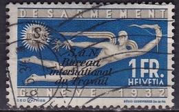 Switzerland / Schweiz / Suisse: 1932 Abrüstungskonferenz In Genf 1 Fr Blau  Mit Aufdruck S D N Michel BIT / ILO D 37 - Dienstzegels