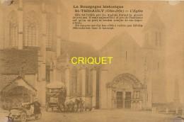 21 St Thibault, L'Eglise, Tacot Et Enfant, Charrette...., Carte Pas Très Courante - Francia