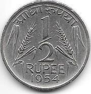 *india 1/2 Rupee  1954 C  Km 6.2 Vf+ - Inde