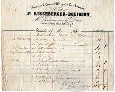 VP6942 - Facture - Jh.KIRCHBERGER - BOUISSON Md Cordonnier à PARIS Rue Des Colonnes - 1800 – 1899