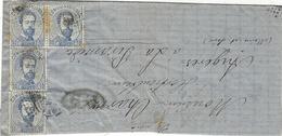 1873- Enveloppe  Affr. Y T N° 120X4 Pour La France (de Barcelone) - Marcas De Censura Nacional