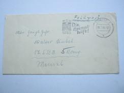 Danzig , 1943 , Rotes Kreuz , Klarer Maschinenstempel Auf Feldpostbrief , Absender Aus Heubude - Danzig