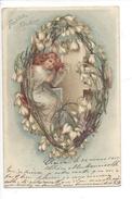 16137 - Fröhliche Ostern Ange Dans Couronne De Fleurs Brillants Envoyée En 1901 - Pâques