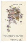 16142 - Heureuse Année Je Serai Le Même Jusqu'à Votre Vieillesse ... Etoile Sur Fond De Fleurs Carte En Relief - Nouvel An