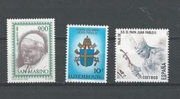 St. Marin: 1062 ** + Lux. 1074 ** + Espagne: 2297 ** - Papi