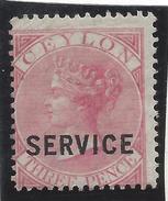Ceylan - Ceylon - Timbre Service - N° 8 * - Neuf Avec Charnière - Ceylon (...-1947)