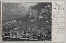 Gruss Aus Netstal! Mit Bahnhof - Photo: E. Leuzinger No. 6530 - GL Glarus