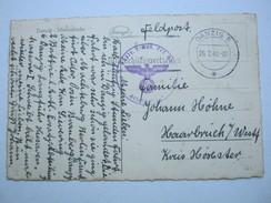 DANZIG ,  1940 , Danzig   Stempel Auf Feldpostkarte Mit Truppensiegel - Danzig