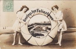 Royaume-Uni - Felixstowe - Greetings - Femme - Costume Bains Bas - The Pier Gardens - 1910 - Angleterre