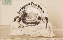 Royaume-Uni - Felixstowe - Greetings - Femme - Costume Bains Bas - Constable's Cottage - 1910 - Non Classés