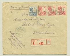 Nederlands Indië - 1917 - 4 Zegels Op R-cover Lokaal Soekaboemi