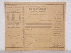 Mandat-Carte N°1406 - Postes Et Télégraphes - République Française - Documents De La Poste
