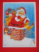 Z1-Postcard-Santa Claus In The Chimney - Santa Claus