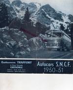 38 - GRENOBLE- DEPLIANT TOURISTIQUE AUTOCARS SNCF-1950-51- ETS. TRAFFORT-CAR AUTOBUS SAURER- SAVIA- LYON -NICE-CHAMONIX- - Dépliants Turistici