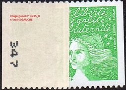 France Marianne Du 14 Juillet N° 3535 B ** Luquet -  Roulette Du  TVP RF Vert Numéro Noir à Gauche - 1997-04 Marianne Of July 14th