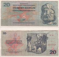 Tschechoslowakei , 20 Korun, 1970 , P- 92 , VG - Tchécoslovaquie