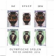 Suriname 2016, UPAEP, Olympic Games, Antique Vase Greek, 4val In BF - UPU (Universal Postal Union)