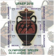 Suriname 2016, UPAEP, Olympic Games, Antique Vase Greek, BF - UPU (Universal Postal Union)