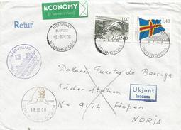 Aland 2000 Helsinki Paquebot Bridge Flag Hopen Walrus Cover To Norway Returned - Aland