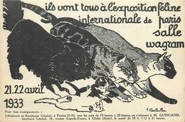 RARE - EXPOSITION FELINE INTERNARTIONAL DE PARIS - CHATS - CPA PUB - ILLUSTRATEUR; CASTHELAN - 1933 - TBE. - Katten