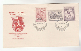 1953 CZECHOSLOVAKIA FDC Sport MOTORCYCLE RACING, JAVELIN, VOLLEYBALL  Stamps , Cover Motorbike - FDC