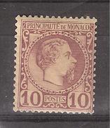 MONACO 1885, Charles III,Yvert N° 4,10 C Lilas Brun Sur Jaune Avec VARIETE Filet Supérieur Brisé, Neuf * / MH , TB - Neufs