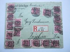 1923 , Brief Aus LUGAU Mit   Mehrfachfrankatur , Rs. Ank. Stempel - Deutschland