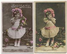 Jolie Petite Fille Baiser 2 Cartes - Portraits