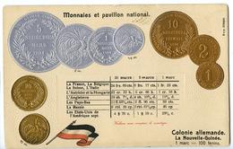 CPA MONNAIES ET PAVILLON NATIONAL - NOUVELLE GUINEE - Coins (pictures)