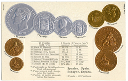 CPA MONNAIES - ESPAGNE - Monnaies (représentations)