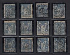Douze (12) Fois Le Type Sage Bleu De 15  Avec Beaux Décalages Et Marque Du Timbre Attenant. A Observer ... Y & T 101 ? - 1876-1898 Sage (Tipo II)