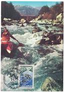 """ANDORRE - 1969 CARTE MAXIMUM """"CHAMPIONNATS DU MONDE CANOE-KAYAK"""" OBLITERATION PREMIER JOUR FDC - Andorre Français"""
