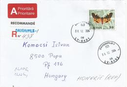 Latvia 2004 Daugavpils Tiger Moth Pericallia Matronula Butterfly Barcoded Registered Cover - Vlinders