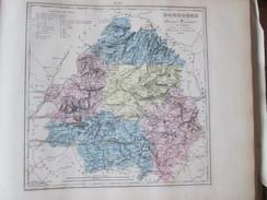 Carte Géographique 1880 Departement  DORDOGNE  Bergerac Riberac Perigueux Nontron Saint Astier Domme Belves - Geographische Kaarten