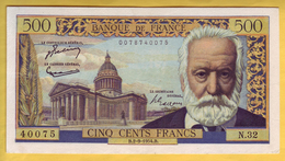 BILLET FRANCAIS - 500 Francs Victor Hugo 2.9.1954 SUP - 1871-1952 Anciens Francs Circulés Au XXème