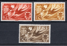 IFNI 1958. AYUDA A VALENCIA: GOLONDRINAS Y ESCUDO DE VALENCIA EDIFIL Nº 142/144  NUEVA SIN CHARNELA  SES479 - Golondrinas