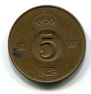 1955  Sweden 5 Ore Coin - Sweden