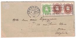 1931 - LETTRE DU DANEMARK (COPENHAGUE) København POUR ORAN ALGERIE AVEC AFFRANCHISSEMENT COMPOSÉ FREDERICIA - Briefe U. Dokumente