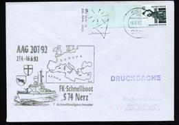 A4385) Bund Brief Von Kiel 16.6.92 Mit Rollenende Und Stempel FK-Schnellboot S 74 Nerz - BRD