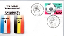 MEXIQUE  FDC Cup 1986 Fussball Soccer Football  France - Belgique 4 - 2 - Coupe Du Monde