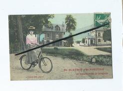 CPA  Fantaisie - De St Aubin D'Ecrosville Je Vous Envoie Le Bonjour   (vélo , Bicyclette ) - Saint-Aubin-d'Ecrosville
