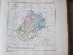 Carte Géographique 1880 Departement  Du LOT  Figeac Gourdon CAHORS   Montauban  Gramat Souillac  Biars - Cartes Géographiques