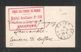 """25 - Besançon - Cachet 'Union Des Femmes De France Hôpital Auxiliaire N° 102 Rue De La Citadelle 6 Besançon """" - Marcophilie (Lettres)"""