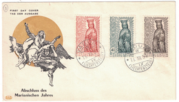"""LIECHTENSTEIN - 1954 BELLE ENVELOPPE """"ABSCHLUSS DES MARIANISCHEN JAHRES"""" CACHET VADUZ FDC PREMIER JOUR - Liechtenstein"""
