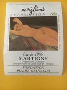 2833 - Exposition Modigliani 1990 Nu Couché Fondation Gianadda Martigny  2 étiquettes - Art